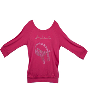 CUSTOM RHINESTONE LOGO 3/4 DOLMAN SLEEVE BLOUSON TOP WITH BANDED BOTTOM