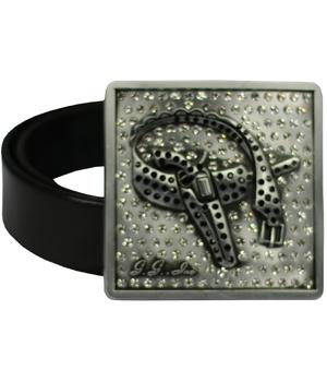 Antique Silver <br>Custom Rhinestone Logo Belt Buckle