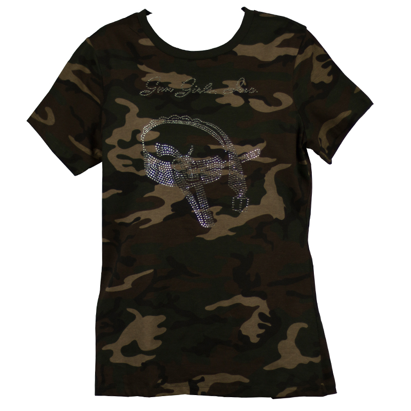 Short Sleeve Green Camo Rhinestone Logo Crew Neck Shirt