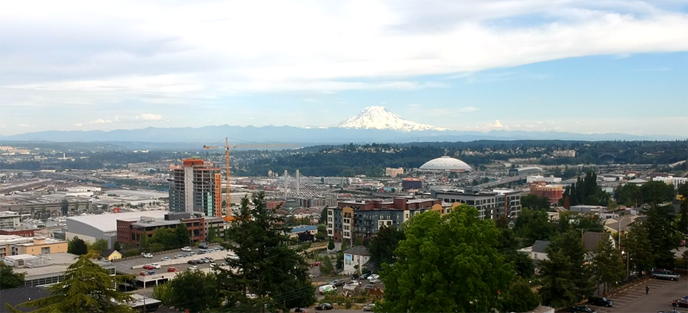 aerial image of Tacoma, Washington from the JVC Northwest recruitment video