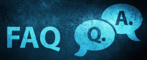 The letters FAQ are on blue background with Q and A letters inside talk bubble icons