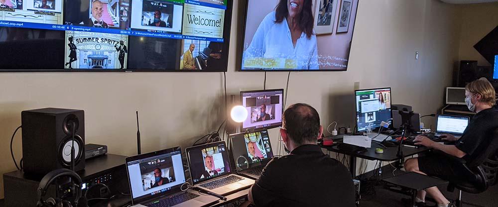 two technicians livestream a virtual fundraiser