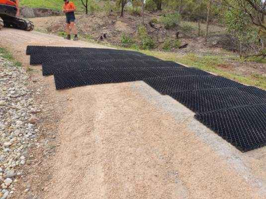 Diamond Grid Being Installed on Driveway