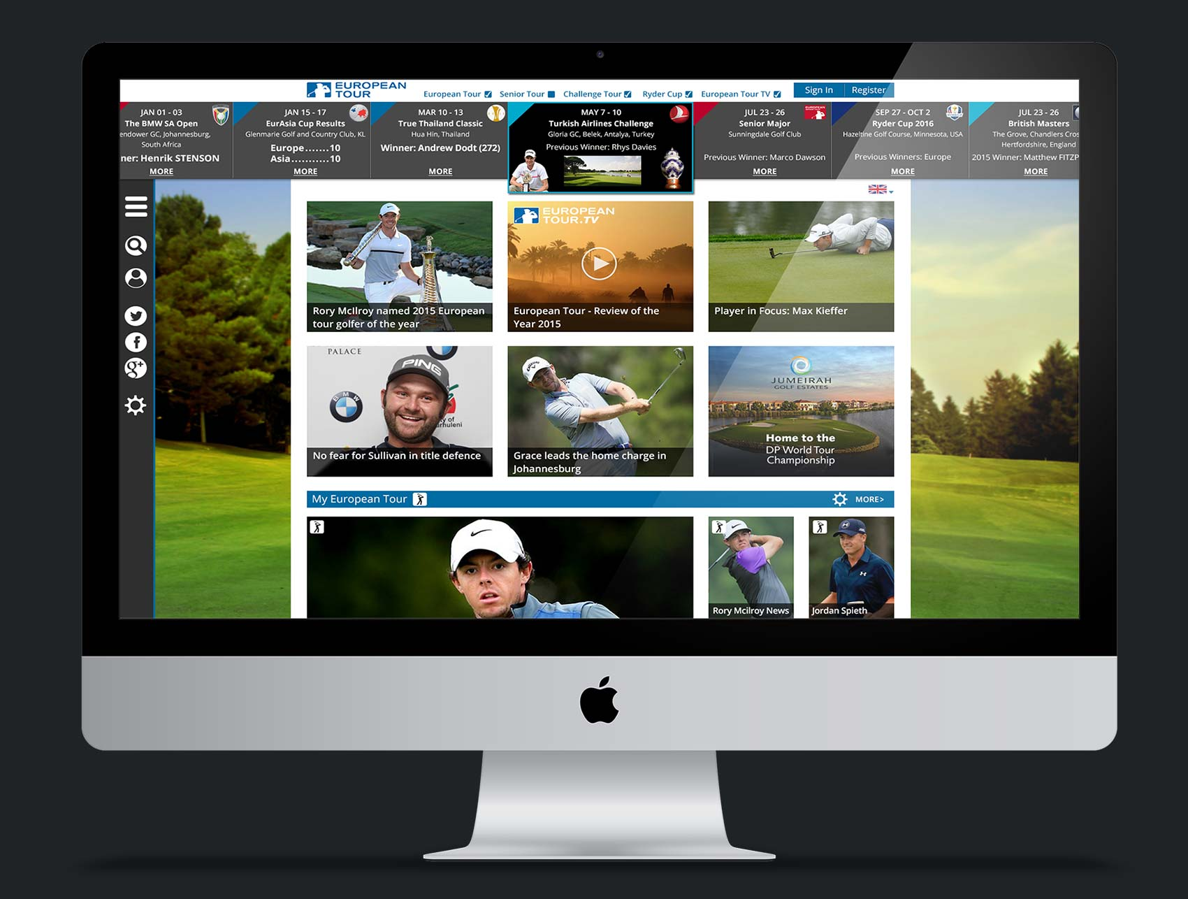 European Tour Website design (Concept)
