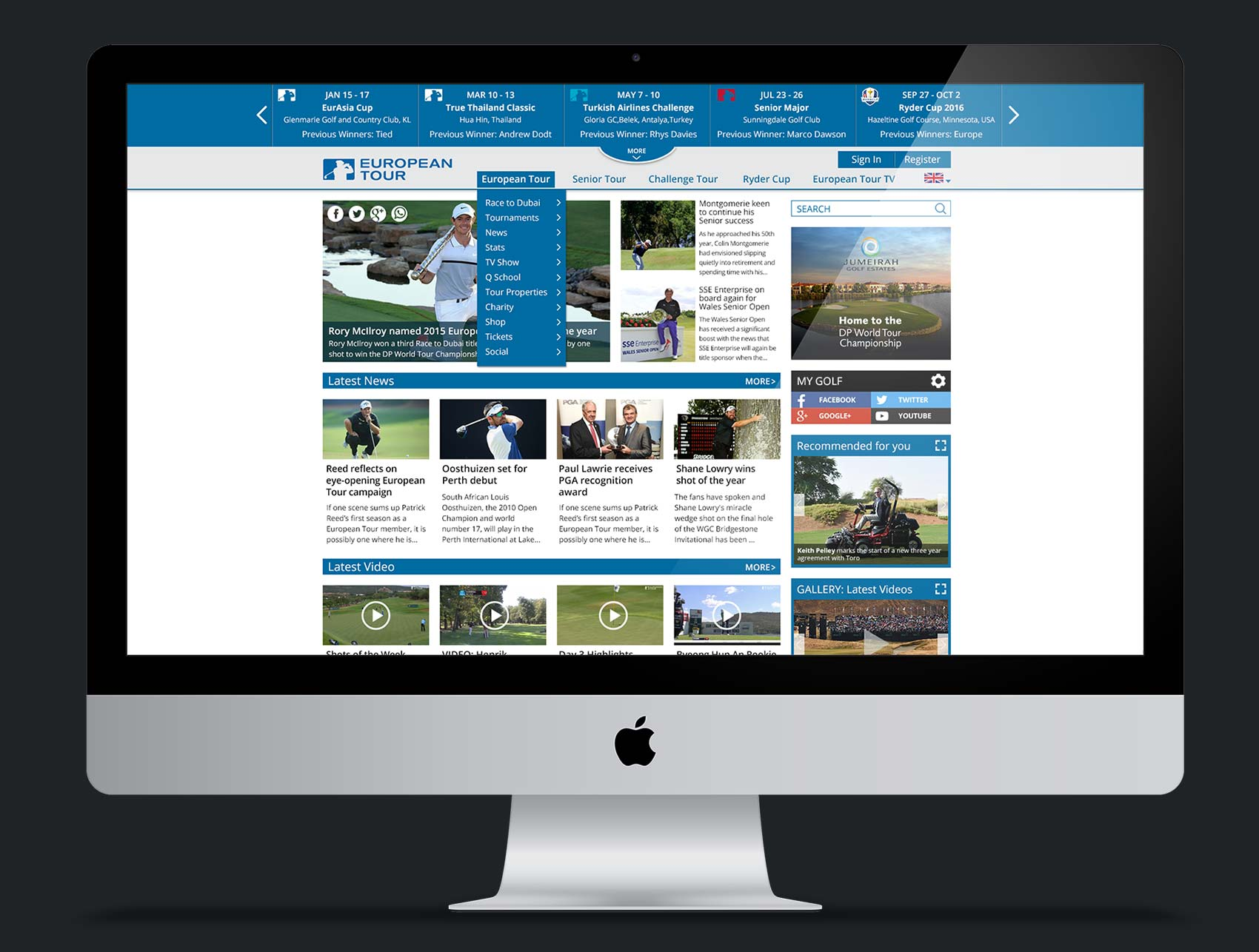 European Tour Website design (Concept)
