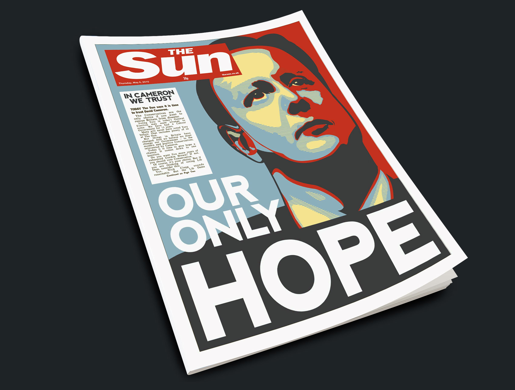 The Sun Front Page, David Cameron: Our Only Hope. In Cameron we trust