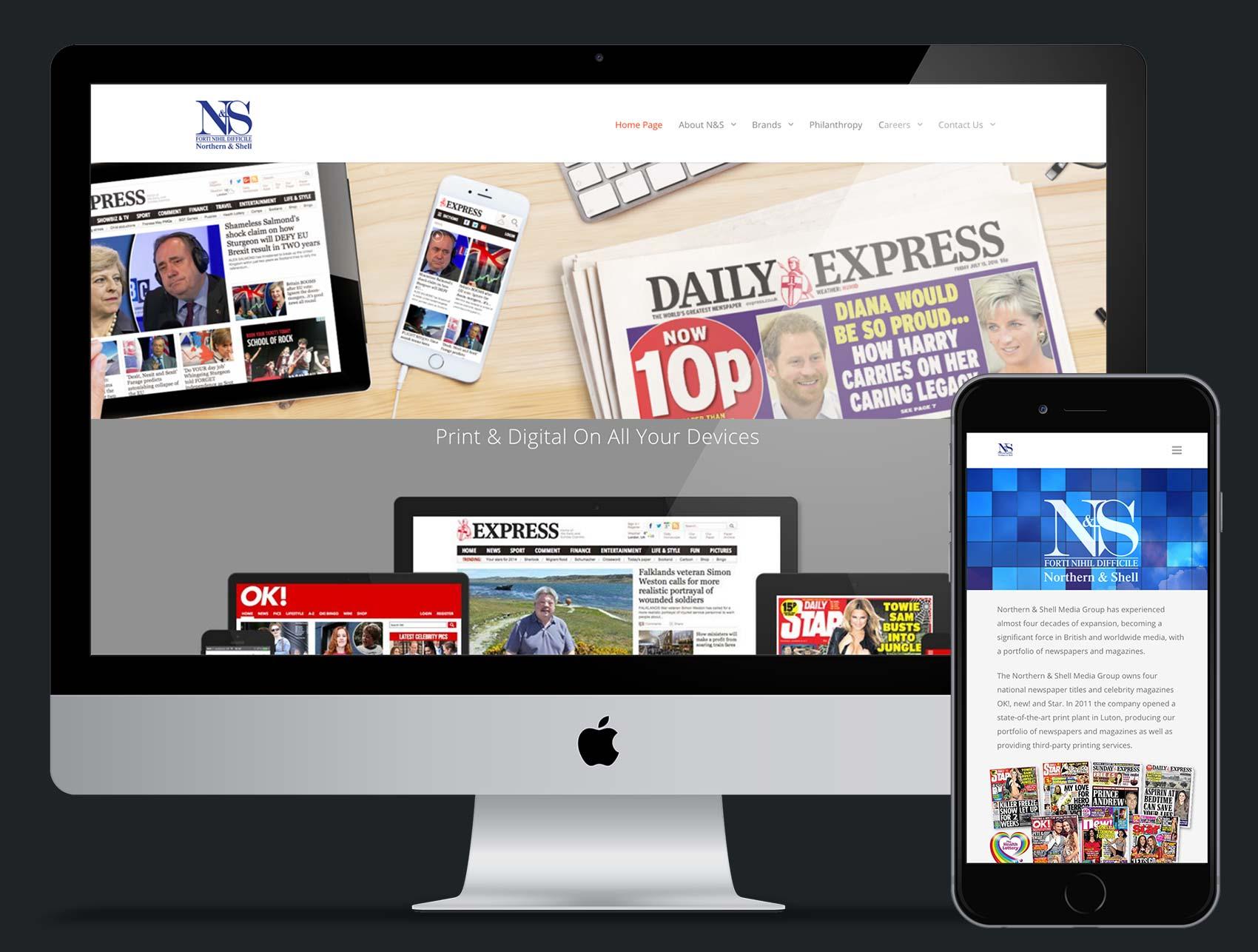 Northern & Shell website design and build using Wordpress platform
