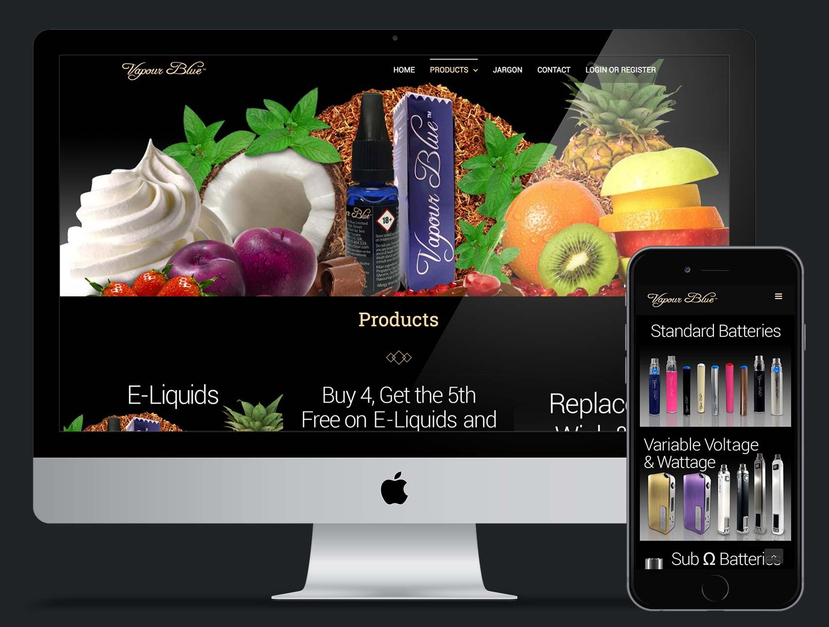 Vapour Blue: E-commerce website design and build