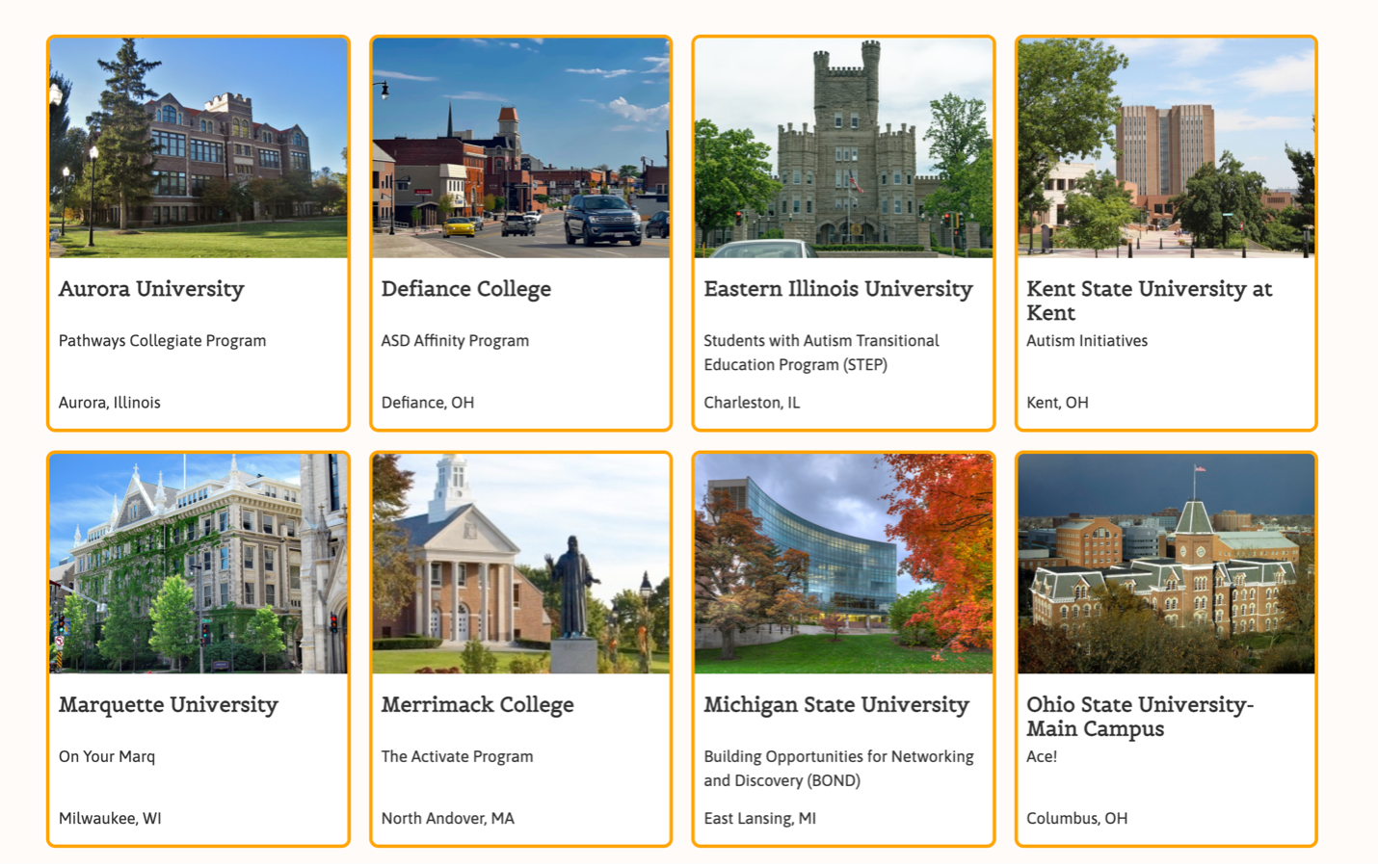 CAN Database - Results of US colleges with autism programs
