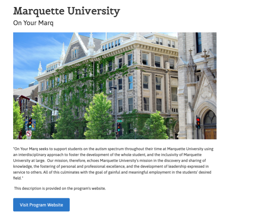 CAN Database - sample result of US college with autism program