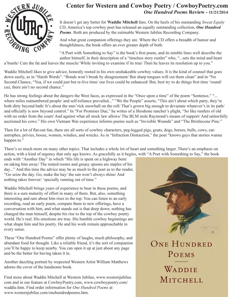 One Hundred Poems - CowboyPoetry.com Book Review