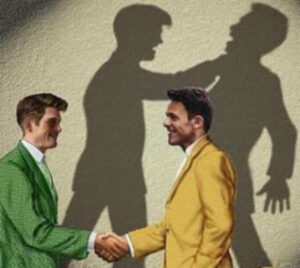 green business suit man smiles in the face of yellow business suit man. In the shadow reflects the hidden evil intention of the fake, green suit man.