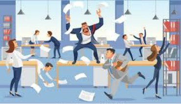 Office room chaos is caused by an Antisocial.  Cartoon of chaos in office.
