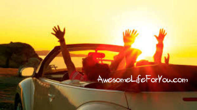 Happy people in convertible Volkswagen in the sunset.  Words, AwesomeLifeForYou.com