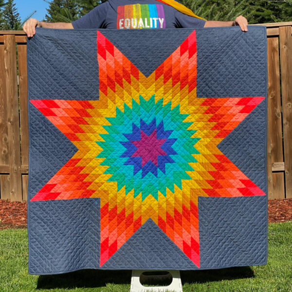 Rainbow Lone Star Quilt for gSAFE Auction