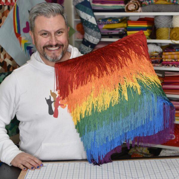 Rainbow Fringe Pillow