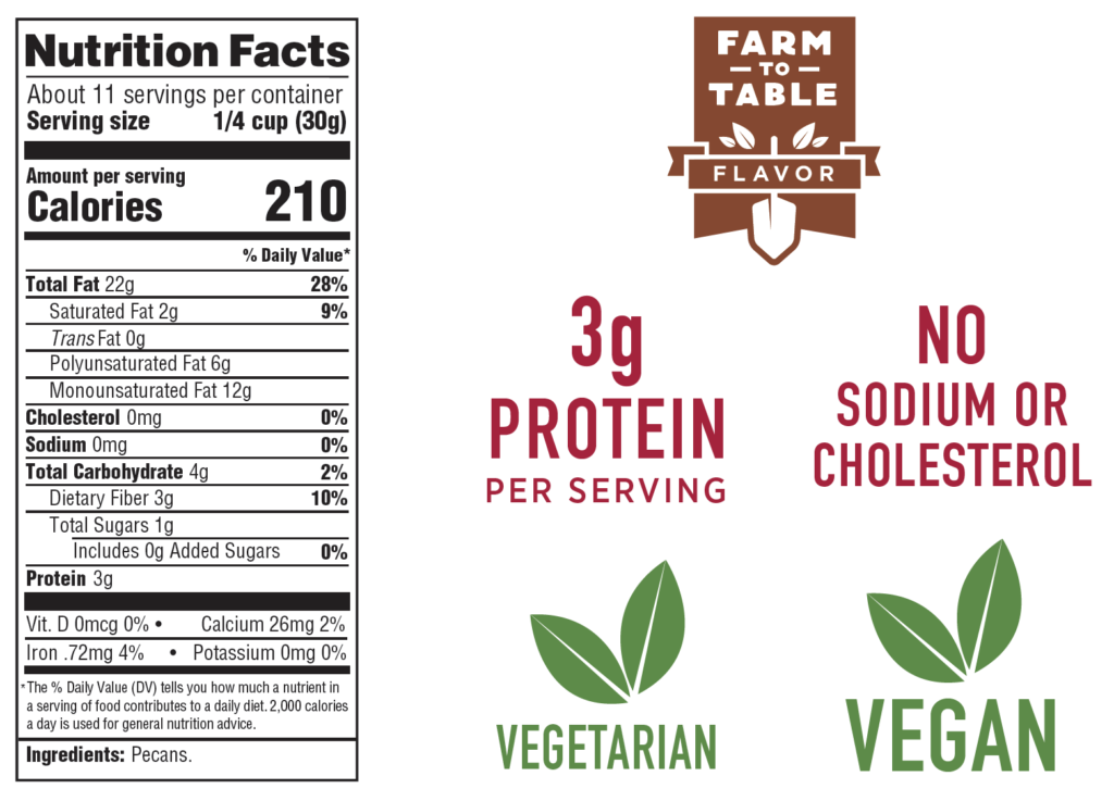 Nutrition facts label and highlights including farm-to-table flavor, 3 grams of protein per serving, no sodium or cholesterol, vegetarian, and vegan