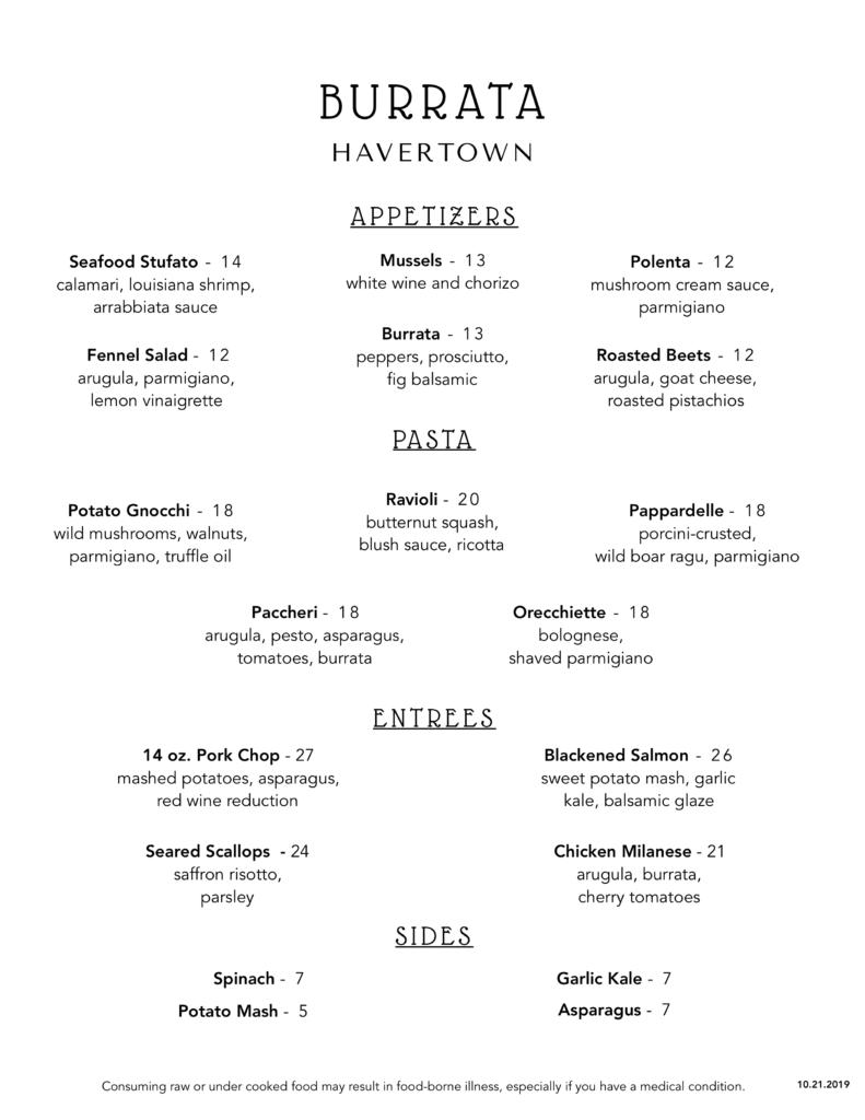 Burrata Havertown 10.21.2019