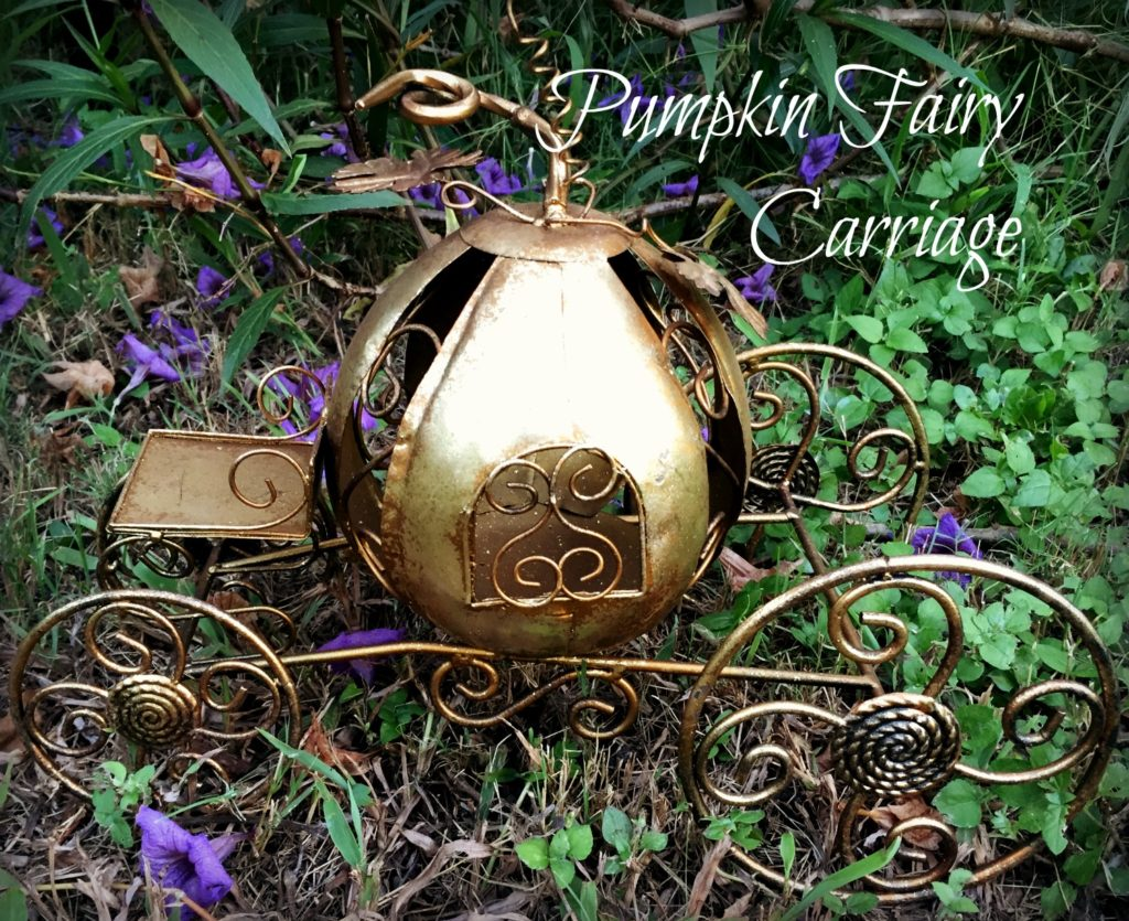 Gold metal pumpkin fairy carriage found on Amazon. fairiehollow.com