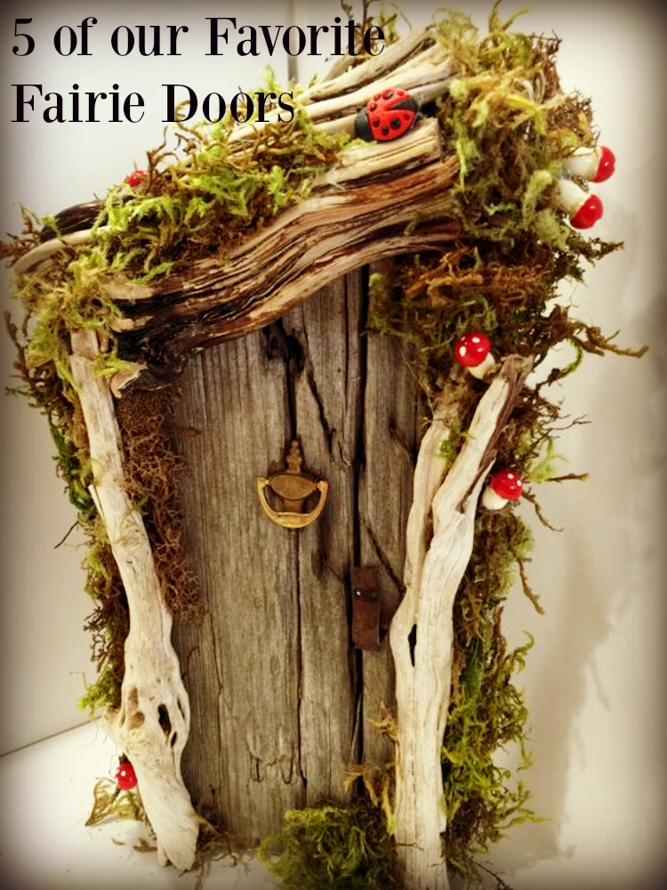 This rustic fairy door is made of driftwood, moss and ladybugs.5 of our favorite fairy doors to inspire you | fairiehollow.com