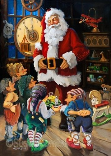 Santa talking to the elves on Christmas Eve before delivering toys. fairiehollow.com
