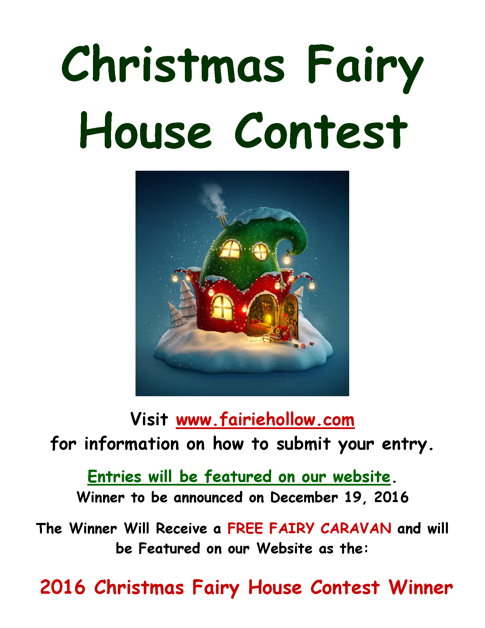 Christmas Fairy House Contest 2016