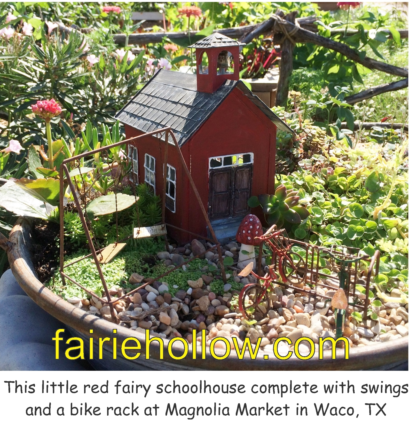At Magnolia-Market in Waco, Texas, there was this little-red-school-house fairies house| fairiehollow.com
