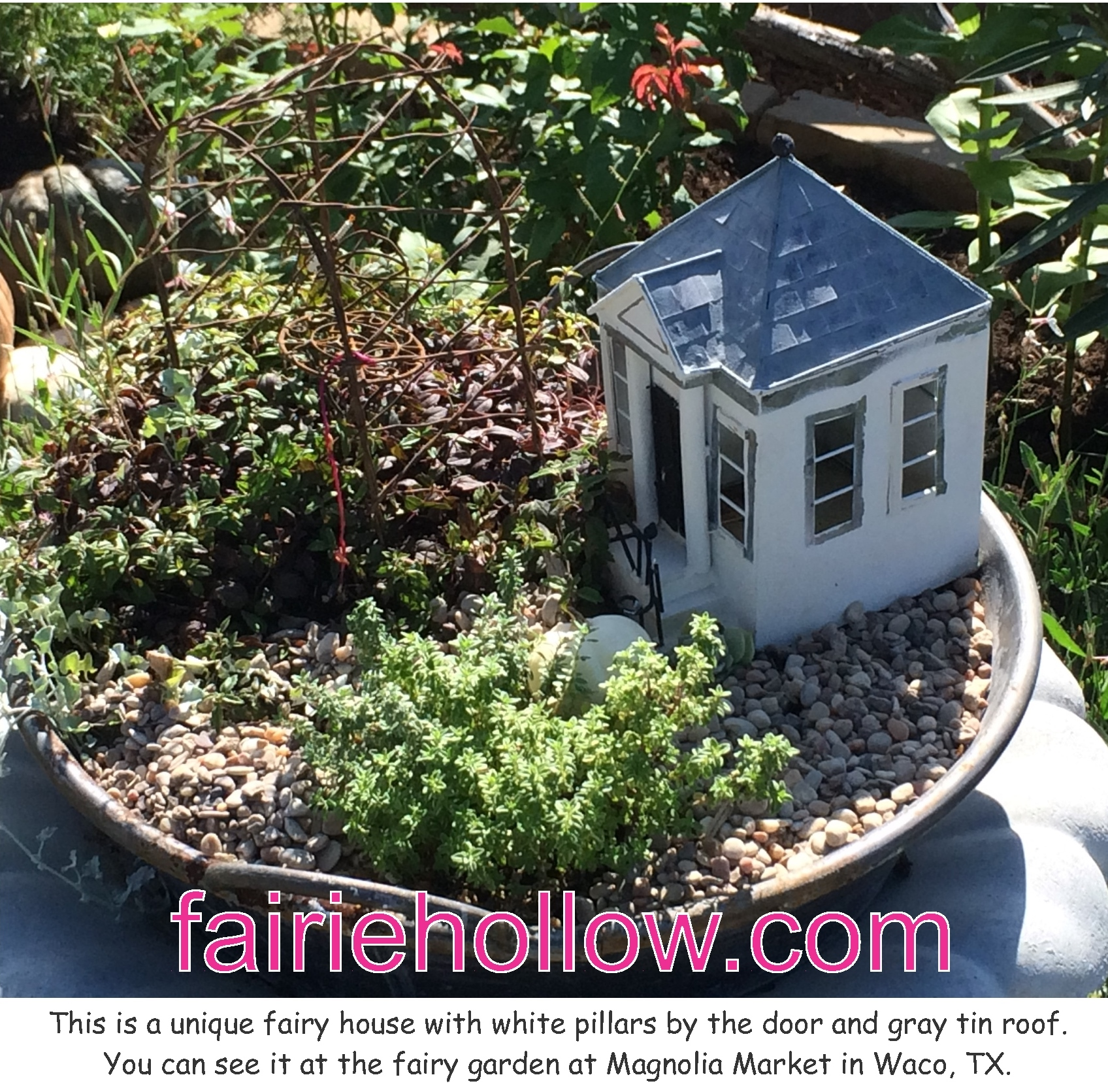 At Magnolia-Market- in Waco, Texas is a white fairy house-with-pillars | fairiehollow.com
