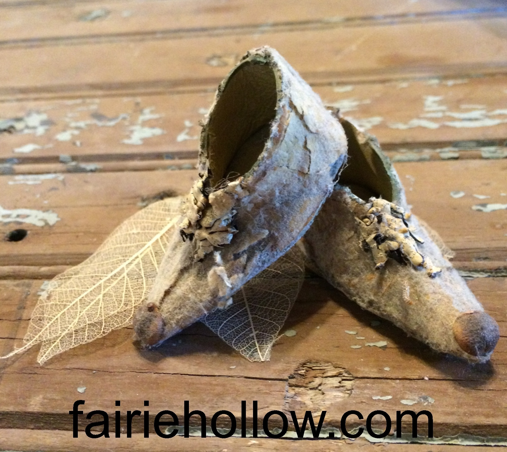 Fairy Shoes Made from Natural Garden Objects