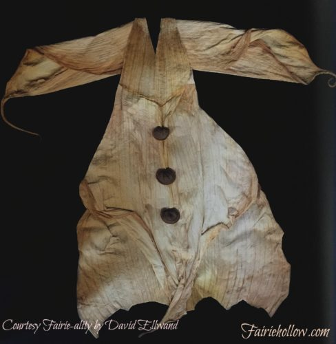 Cornhusk artists smock.Feather dress made for fairies from the book Fairie-ality| Fairiehollow.com