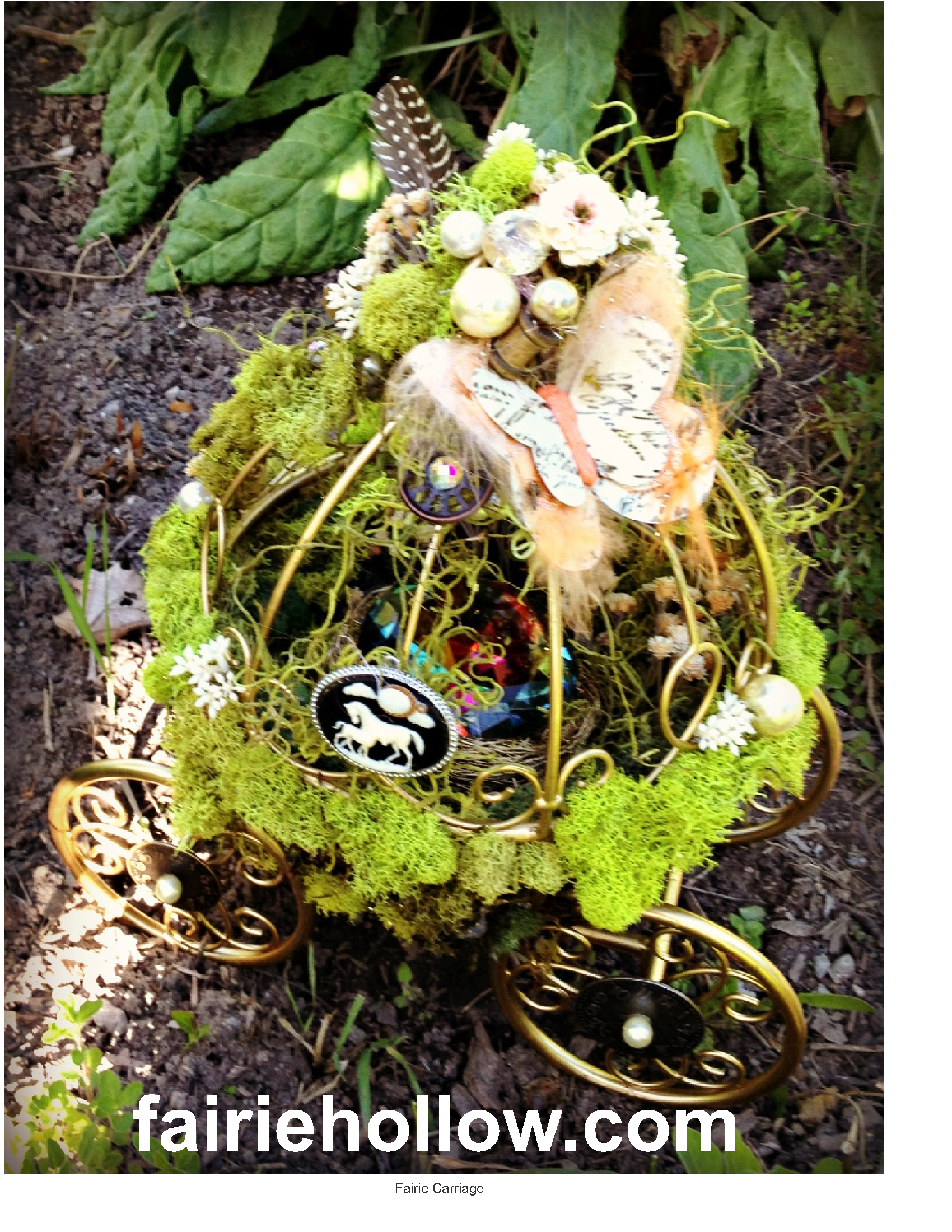 fairie garden party carriage made metal carriage moss feathers butterflies flowers | fairiehollow.com