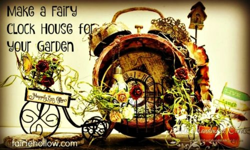 Mixed media Fairy House Clock scrapbook paper found objects | fairiehollow.com