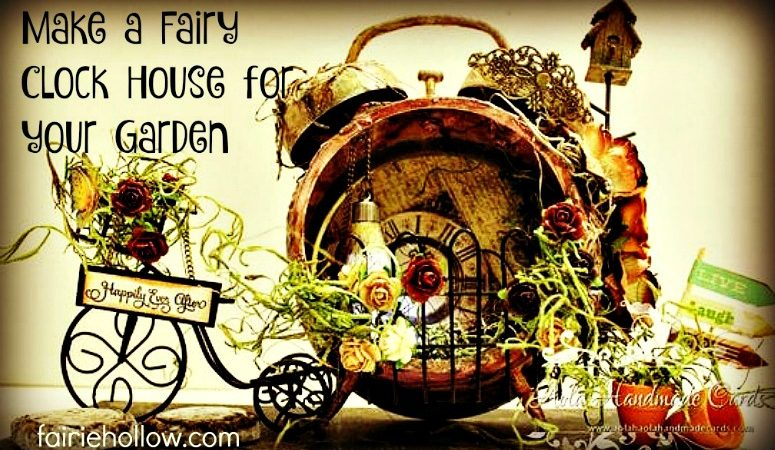 Mixed media Fairy House Clock scrapbook paper found objects   fairiehollow.com