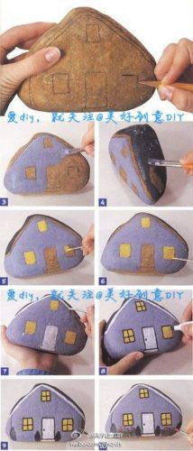 tutorial painted rock fairy house | fairiehollow.com