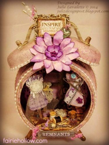 fairy clock house, purple flowers, fairy dress on dress stand | fairiehollow.com
