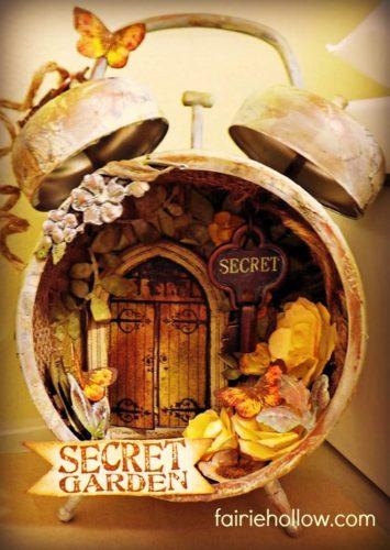 Fairy Clock House Secret Garden Graphic 45 papers, mixed media, flowers, purple, | fairiehollow.com