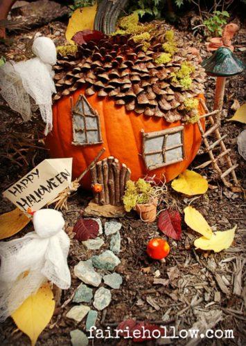 Halloween, pumpkin, garden, house,