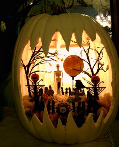 white, fairy pumpkin, Halloween, fairy garden