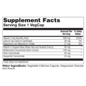 Solaray Vitamin C with Bioflavonoid Rose Hips & Acerola 500 mg 250 veg caps Supplement Facts