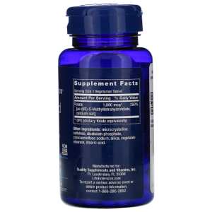 Life Extension Optimized Folate supplement facts