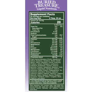 Buried Treasures Colloidal Minerals Grape Supplement Facts
