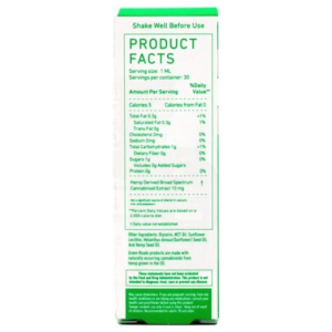 Broad Spectrum Hemp Oil by Green Roads 300 mg product facts