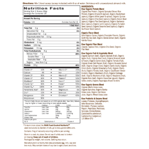 Raw Organic Meal Chocolate Nutrition Facts
