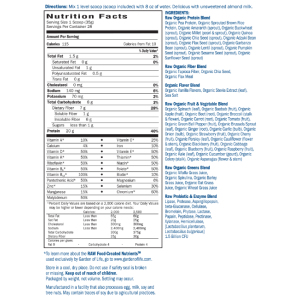 Raw Organic Meal Vanilla Nutrition Facts