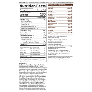 Garden of Life Protein Raw Organic Chocolate supplement facts