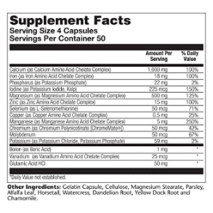 Solaray Mega Multi Mineral 200 ct supplement Facts
