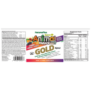 Natures Plus Animal Parade Gold Children's Multivitamin Assorted Flavors Supplement Facts