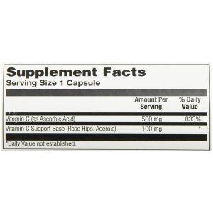 Solaray Vitamin C with Rose Hips & Acerola 500 mg 100 ct Supplement Facts