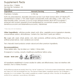 Terry Naturally Extra Strength Curamin Supplement Facts