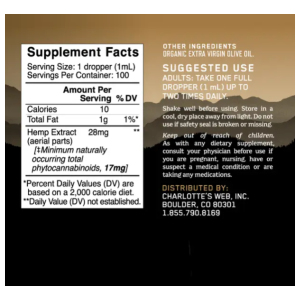 Charlotte's Web Olive Oil Hemp Extract supplement facts